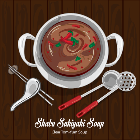 Shabu sukiyaki clear tom yum soup illustration graphic object