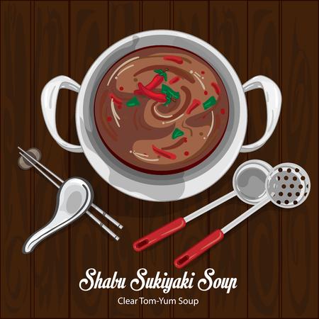 Shabu sukiyaki clear tom yum soup illustration graphic object