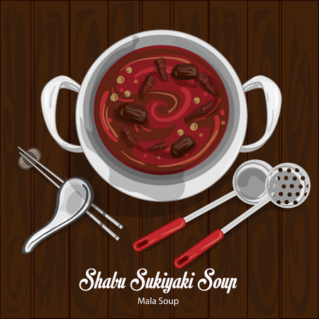 Shabu sukiyaki mala soup illustration graphic object
