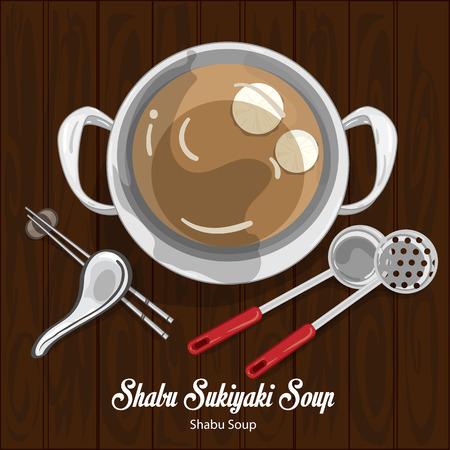 shabu sukiyaki soup illustration graphic object