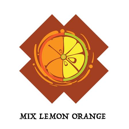 Fruit mix lemon orange graphic element design key visual icon symbol