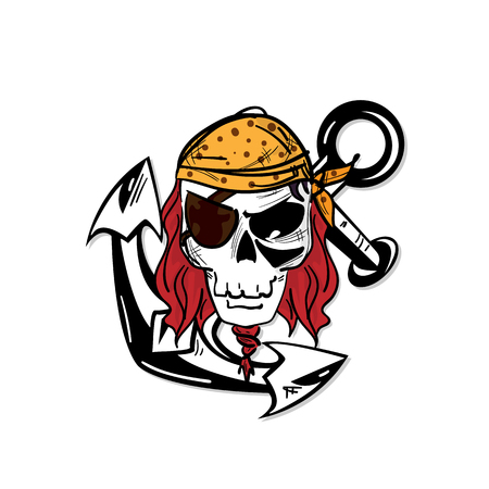 skull graphic pirate cartoon character design object illustration Vettoriali