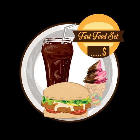 menu fastfood template design graphic set Ilustración de vector