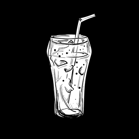 Fast food drawing object black white, a glass and water