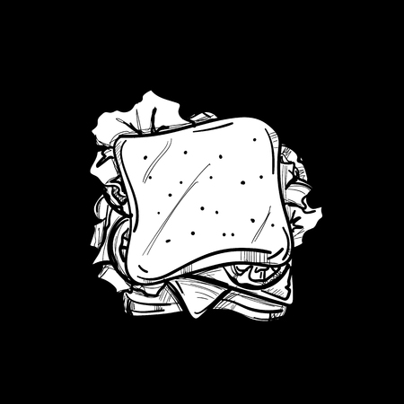 fast food drawing object black white