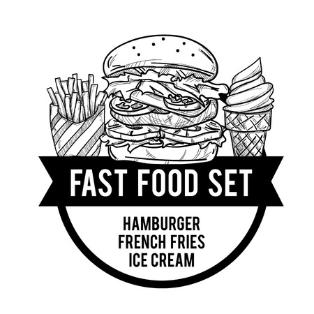 menu fastfood design template graphic drawing set Ilustração Vetorial