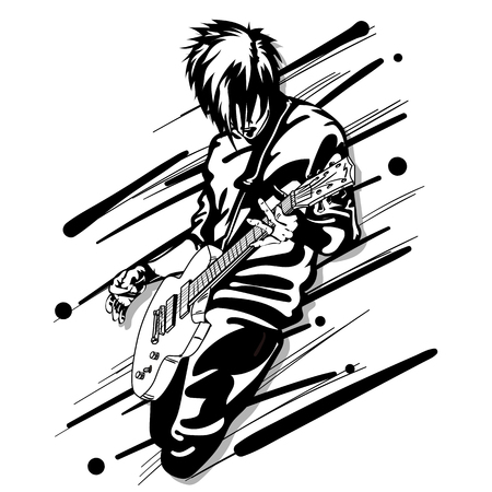 guitar man play music graphic object