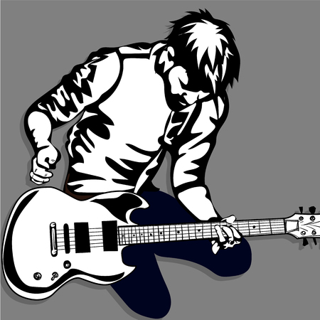 guitar man play music graphic object Vetores
