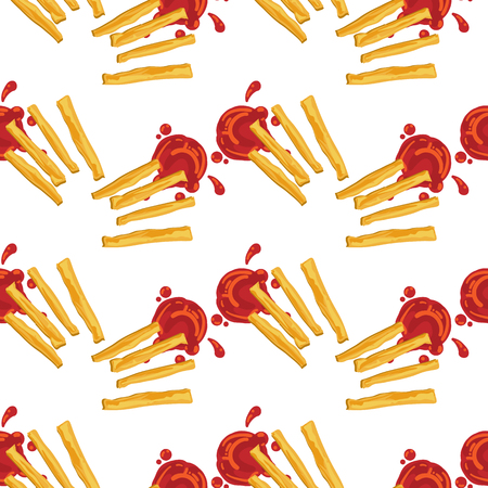 pattern French fries fastfood object graphic background