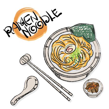 food vector Japanese noodle Ramen cuisine soup object Illustration