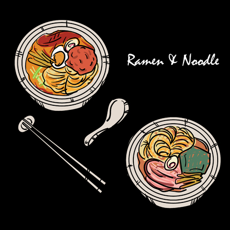 food vector Japanese noodle Ramen cuisine soup object Stock Illustratie