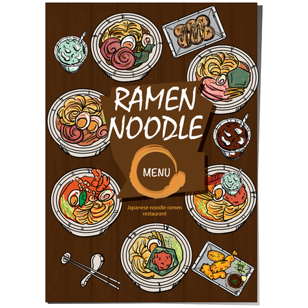 Japanese ramen noodle menu template design Illustration