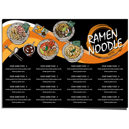 menu ramen noodle japanese template design