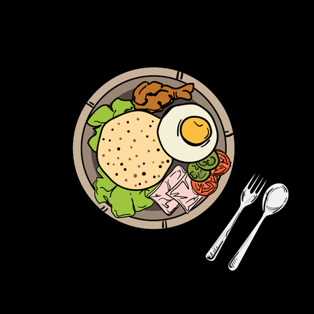 thai food American fried rice Illustration