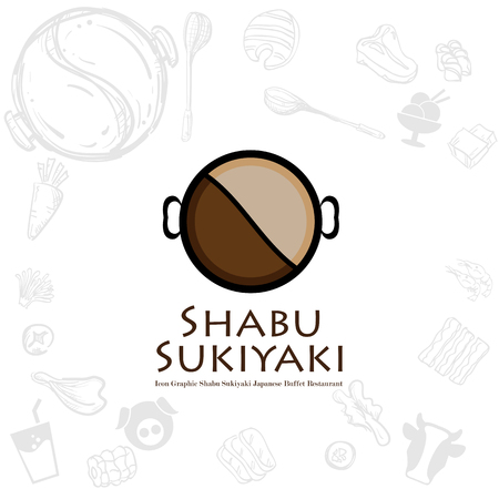 shabu sukiyaki logo icon graphic japanese buffet restaurant 矢量图像