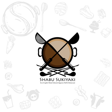 shabu sukiyaki logo icon graphic japanese buffet restaurant Illustration