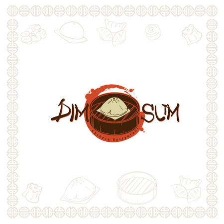 dim sum chinese restaurant food logo symbol graphic Stock Vector - 115687019