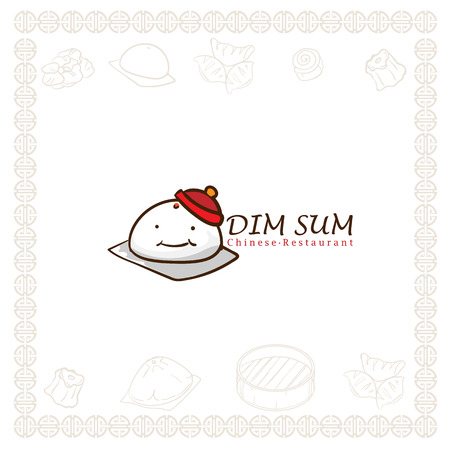 dim sum chinese restaurant food logo symbol graphic Illustration