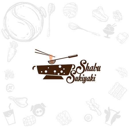shabu sukiyaki logo icon graphic japanese buffet restaurant Illusztráció