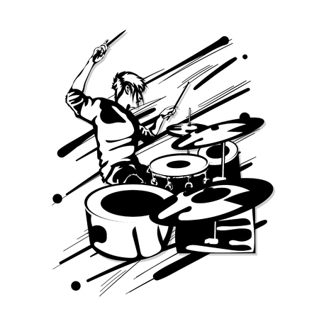 drummer music graphic Ilustrace