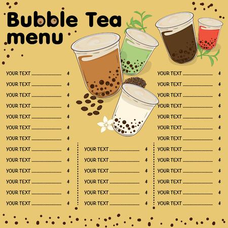 bubble tea menu graphic template Illustration