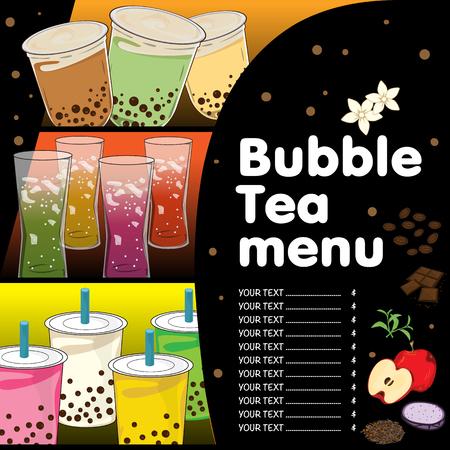 bubble tea menu graphic template Stock Illustratie
