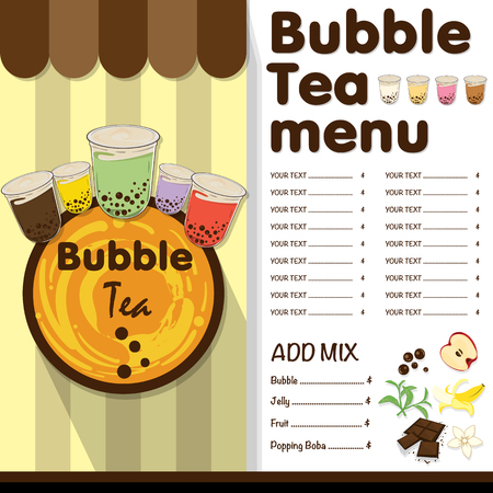 bubble tea menu graphic template  イラスト・ベクター素材