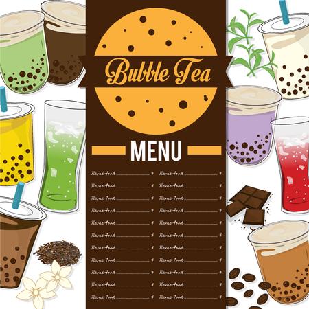 bubble tea menu graphic template Ilustracja