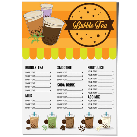 bubble tea menu graphic template Illusztráció