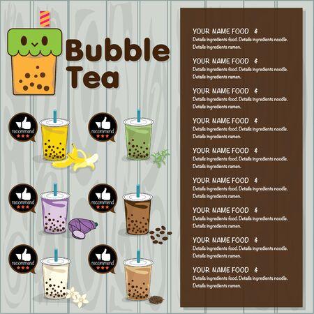 Plantilla gráfica de menú de té de burbujas Ilustración de vector