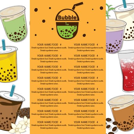 bubble tea menu graphic template Иллюстрация