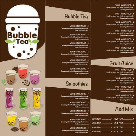bubbel thee menu grafische sjabloon