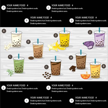 bubble tea menu graphic template Stock Illustratie