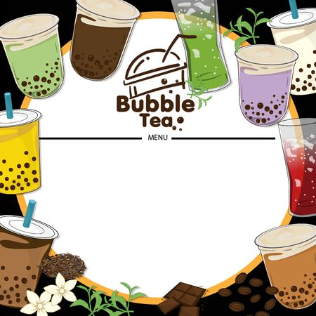 bubble tea menu graphic template Illustration