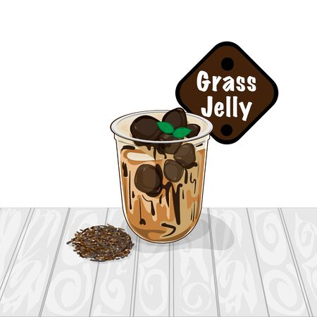 grass jelly graphic cup object food drink Vektoros illusztráció