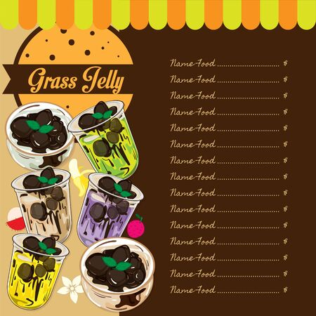 menu grass jelly graphic template
