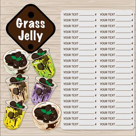 szablon graficzny galaretki menu z trawy