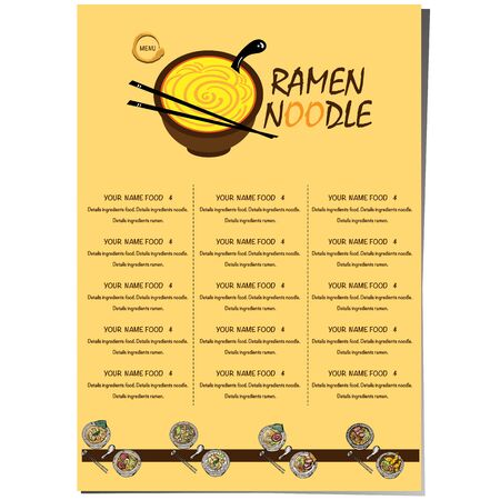menu ramen noodle japanese food template design Standard-Bild - 129300636