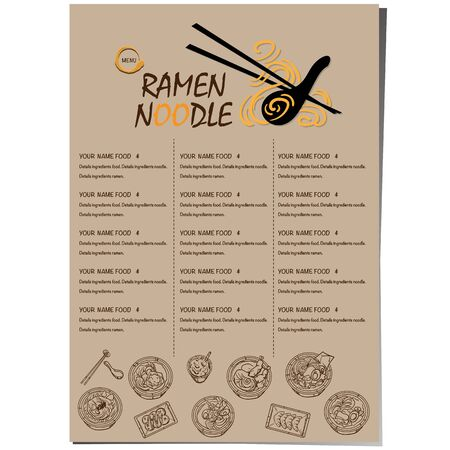 menu ramen noodle japanese food template design Standard-Bild - 129300638