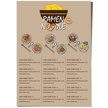 menu ramen noodle japanese food template design Standard-Bild - 129300640