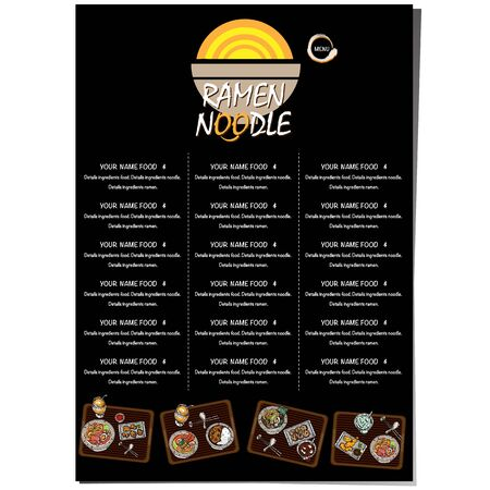 menu ramen noodle japanese food template design Standard-Bild - 129300642