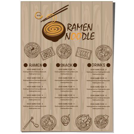menu ramen noodle japanese food template design Standard-Bild - 129300842