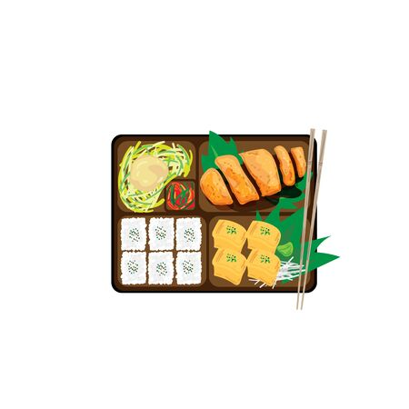 japanese bento box food set graphic object