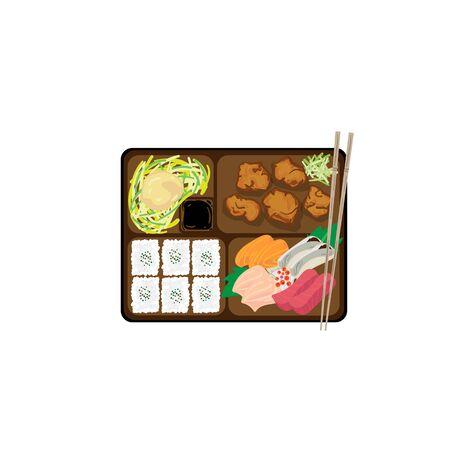 japanese bento box food set graphic object