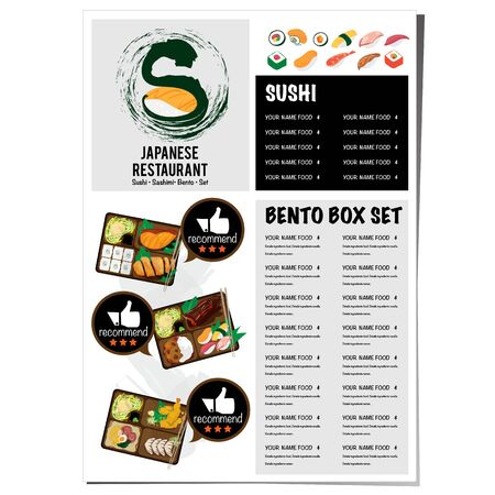 sushi japanese restaurant menu template design graphic Illustration