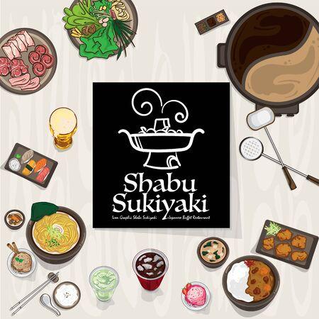 shabu sukiyaki logo icon graphic japanese buffet restaurant Illustration