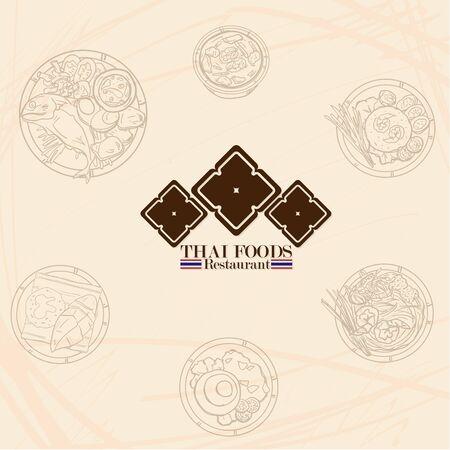 thai food restaurant logo icon graphic Illustration