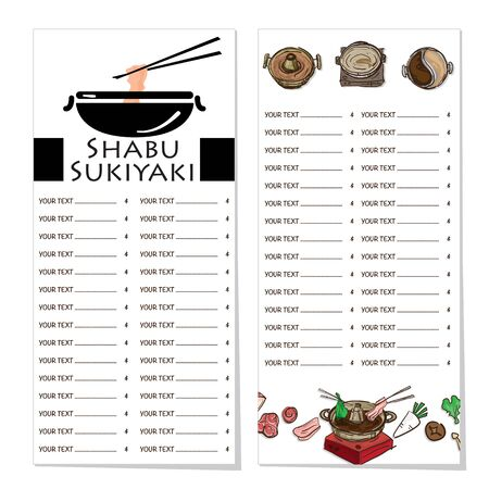 menu shabu sukiyaki restaurant template design graphic objects Stock fotó - 138348446