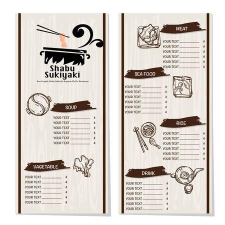 menu shabu sukiyaki restaurant template design graphic objects Stock fotó - 138185056