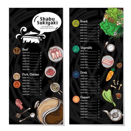 menu shabu sukiyaki restaurant template design graphic objects Stock fotó - 138185221